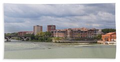 Panorama Of The Hydroelectric Power Station In Toulouse Bath Towel by Semmick Photo