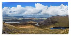 Panorama Of Valleys And Mountains In County Kerry On A Summer Da Bath Towel by Semmick Photo