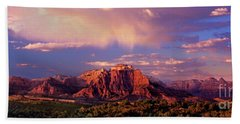 Panorama West Temple At Sunset Zion Natonal Park Hand Towel