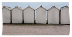Panoramic Beach Huts Hand Towel by Helen Northcott