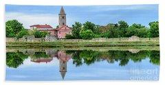 Panoramic Reflections Of Nin, Croatia Bath Towel