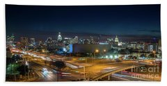 Panoramic View Of Busy Austin Texas Downtown Hand Towel