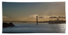 Panoramic View Of Downtown San Francisco Behind The Golden Gate  Bath Towel
