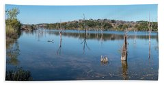 Panoramic View Of Large Lake With Grass On The Shore Hand Towel