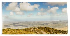 Panoramic Views From Mount Zeehan To Trial Harbour Hand Towel