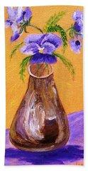Pansies In Brown Vase Hand Towel