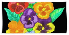 Pansies On Black Bath Towel by Irina Afonskaya