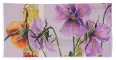 Bath Towel featuring the painting Pansies On My Porch by Mary Ellen Mueller Legault