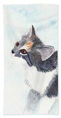 Calico Barn Cat Watercolor Bath Towel