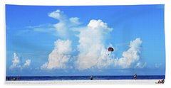 Bath Towel featuring the photograph Para Sailing On Siesta Key by Gary Wonning