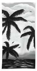 Hand Towel featuring the painting Paradise In Black And White by Teresa Wing