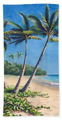 Tropical Paradise Landscape - Hawaii Beach And Palms Painting Hand Towel