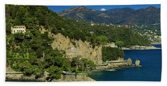 Paraggi Bay Castle And Liguria Mountains Portofino Park  Hand Towel