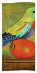 Bath Towel featuring the painting Parakeet On A Persimmon by Leah Saulnier The Painting Maniac