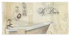Parchment Paris - Le Bain Or The Bath Chandelier And Tub With Roses Bath Towel by Audrey Jeanne Roberts