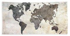Parchment World Map Bath Towel