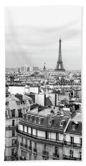 Bath Towel featuring the photograph Paris And The Eiffel Tower From Printemps Rooftop  by D Renee Wilson