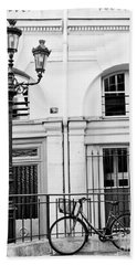 Bath Towel featuring the photograph Paris Black And White Architecture Windows Street Lanterns Bicycle Print - Paris Street Lanterns by Kathy Fornal