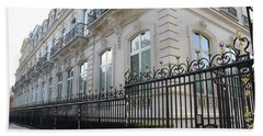 Hand Towel featuring the photograph Paris Black Iron Ornate Gate To Parc Monceau - Parisian Gates  by Kathy Fornal