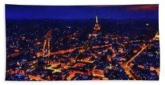 Hand Towel featuring the digital art Paris City View by PixBreak Art