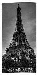Bath Towel featuring the photograph Paris - Eiffel Tower 004 Bw by Lance Vaughn
