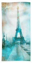 Paris Eiffel Tower Aqua Impressionistic Abstract Bath Towel by Kathy Fornal