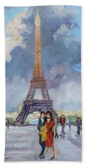 Paris Eiffel Tower Hand Towel by Irek Szelag