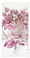Hand Towel featuring the photograph Paris Eiffel Tower Spring Magnolia Flower Blossoms - Paris Pink White Spring Blossoms  by Kathy Fornal