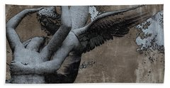 Paris Eros And Psyche - Surreal Romantic Angel Louvre   - Eros And Psyche - Cupid And Psyche Hand Towel by Kathy Fornal