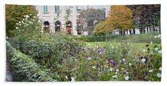 Bath Towel featuring the photograph Paris Palais Royal Gardens - Paris Autumn Fall Gardens Palais Royal Rose Garden - Paris In Bloom by Kathy Fornal
