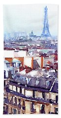 Paris Rooftops Watercolor Hand Towel
