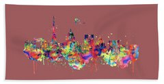 Hand Towel featuring the mixed media Paris Skyline 2 by Marian Voicu