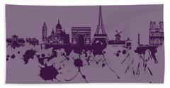 Hand Towel featuring the digital art Paris Skyline.1 by Alberto RuiZ