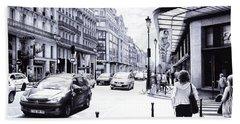 Parisian Street - Ballpoint Pen Art Bath Towel