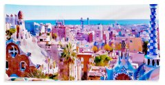 Park Guell Watercolor Painting Hand Towel