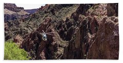 Park Service Helicopter In The Grand Canyon  Hand Towel
