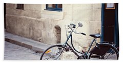Parked In Paris - Bicycle Photography Bath Towel