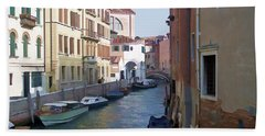 Hand Towel featuring the photograph Parked In Venice by Roberta Byram