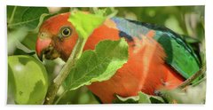 Bath Towel featuring the photograph  Parrot In Apple Tree by Werner Padarin