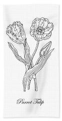 Parrot Tulips Botanical Drawing Black And White Hand Towel