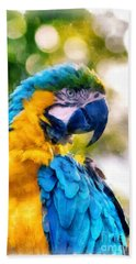 Bath Towel featuring the painting Parrot Watercolor by Edward Fielding