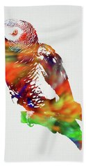 Parrot Wild Animals Of The World Watercolor Series On White Canvas 009 Hand Towel