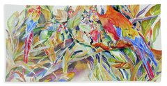 Hand Towel featuring the painting Parrots In Paradise by Mary Haley-Rocks