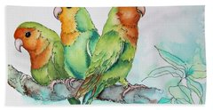 Parrots Trio Bath Towel by Inese Poga