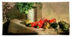 Hand Towel featuring the photograph Parsley And Peppers by Diana Angstadt