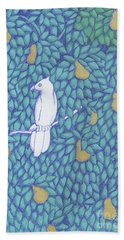 Partridge Pear Tree Hand Towel by Donna Huntriss
