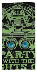 Bath Towel featuring the mixed media Party With The Lights Off by TortureLord Art
