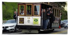 Passenger Waves From A Cable Car Hand Towel by Steven Spak