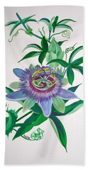 Passion Flower Bath Towel by Tracey Harrington-Simpson