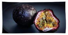 Passion Fruit On Black Plate Hand Towel